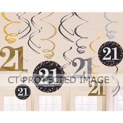21st Gold Birthday Hanging Swirls (packquantity12)