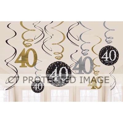 40th Gold Sparkles Hanging Swirls (pack quantity 12)
