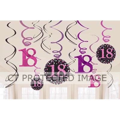 18th Pink Sparkles Hanging Swirls (packquantity12)