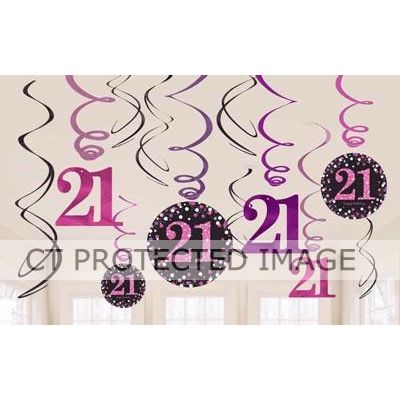 21st Pink Sparkles Hanging Swirls (pack quantity 12)