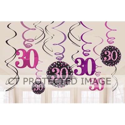 30th Pink Sparkles Hanging Swirls (packquantity12)