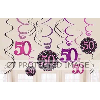 50th Pink Sparkles Hanging Swirls (pack quantity 12)
