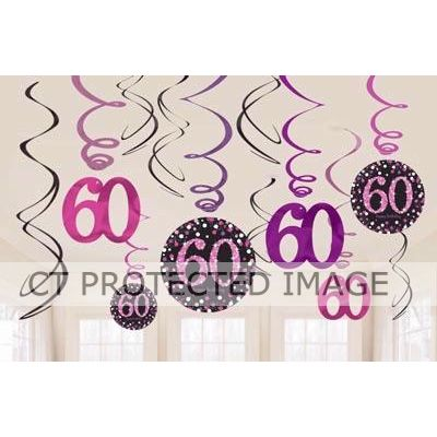 60th Pink Sparkles Hanging Swirls (packquantity12)