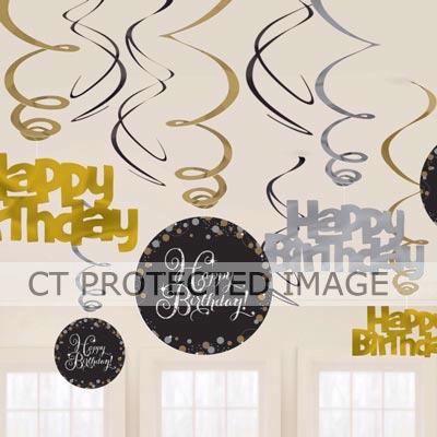 Birthday Gold Sparkles Hanging Swirls (packquantity12)