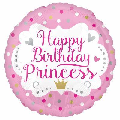 18 Inch Happy Birthday Princess Foil Balloon