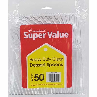 Clear Heavy Duty Plastic Spoons (packquantity50)