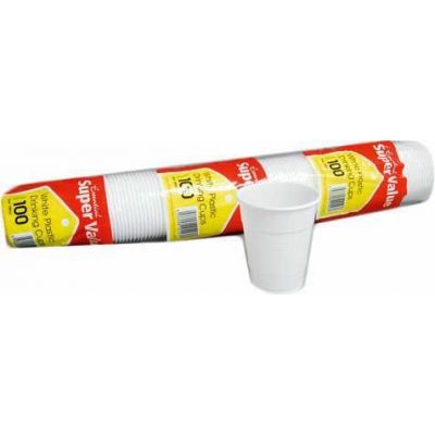 18cl White Plastic Cups (packquantity100)