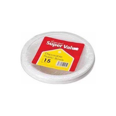 18cm White Plastic Bowls (packquantity15)