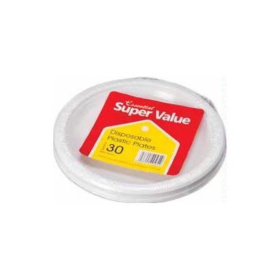 18cm White Plastic Plates (packquantity30)