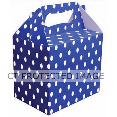 Royal Blue Polka Dot Lunch Boxes (pack quantity 6)