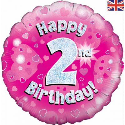 Happy 2nd Birthday Pink 18 Inch Foil