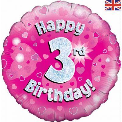18 Inch Happy 3rd Birthday Pink Foil