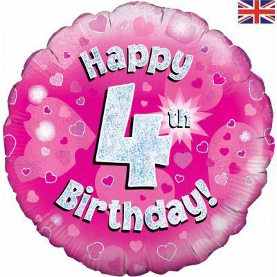 18 Inch Happy 4th Birthday Pink Foil