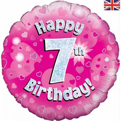 Happy 7th Birthday Pink 18 Inch Foil