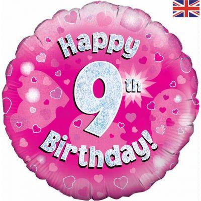 Happy 9th Birthday Pink 18 Inch Foil