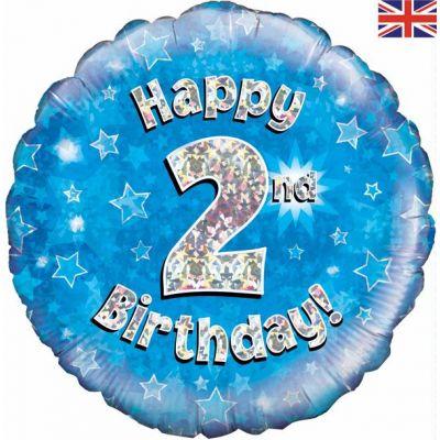 18 Inch Happy 2nd Birthday Blue Foil