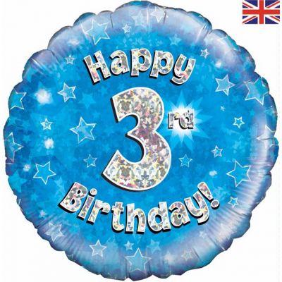 Happy 3rd Birthday Blue 18 Inch Foil