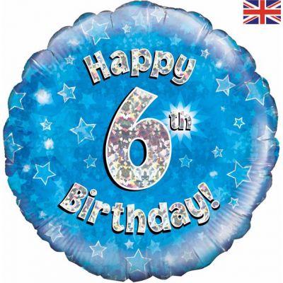 18 Inch Happy 6th Birthday Blue Foil