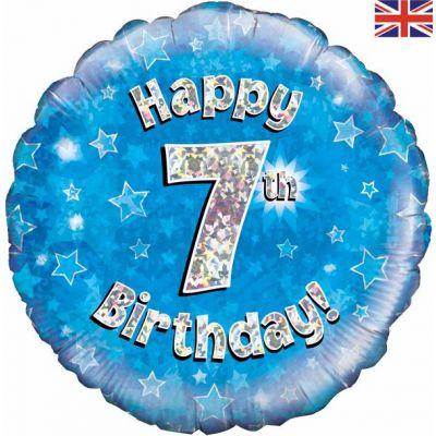 18 Inch Happy 7th Birthday Blue Foil