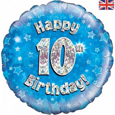 18 Inch Happy 10th Birthday Blue Foil