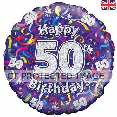 18 Inch 50th Birthday Streamers Holographic Foil