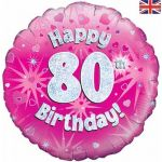18 Inch 80th Birthday Pink Holographic Foil