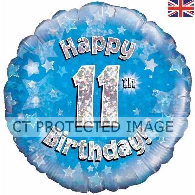 18 Inch 11th Birthday Blue Holographic Foil