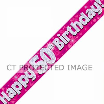 9ft 50th Birthday Pink Banner