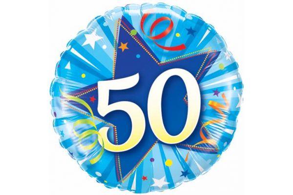 18 Inch 50th Blue Star Foil Balloon