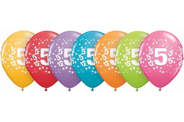 11 Inch Assorted 5th Birthday Balloons Pack Quantity