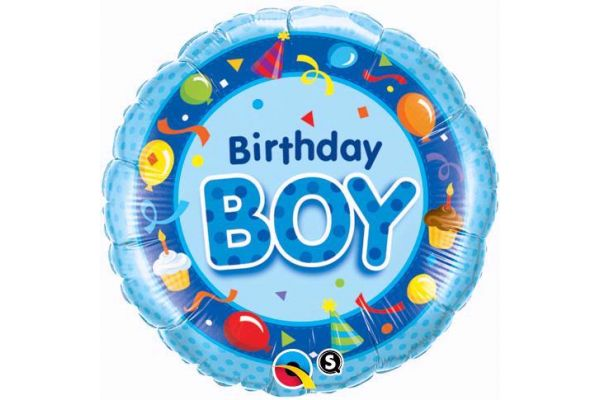 18 Inch Birthday Boy Blue Foil Balloon