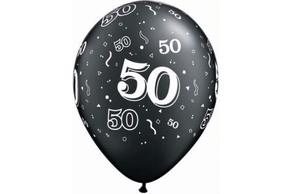 11 Inch 50th Birthday Black And Silver Balloons (pack quantity 25)