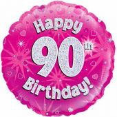 18 Inch 90th Birthday Pink Foil Balloon