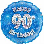 18 Inch 90th Birthday Blue Foil Balloon