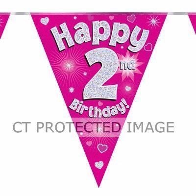 3.9m 2nd Birthday Pink Bunting