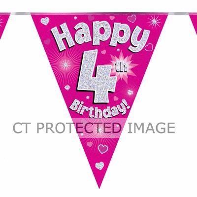 3.9m 4th Birthday Pink Bunting
