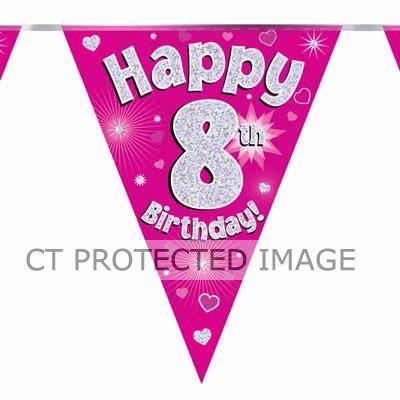 3.9m 8th Birthday Pink Bunting