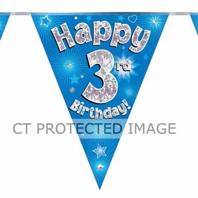 3.9m 3rd Birthday Blue Bunting