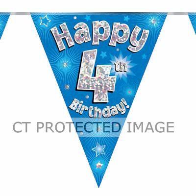 3.9m 4th Birthday Blue Bunting
