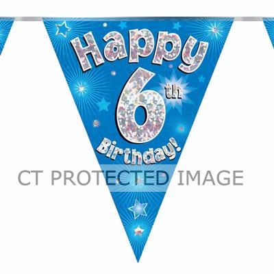 3.9m 6th Birthday Blue Bunting
