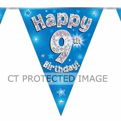 3.9m 9th Birthday Blue Bunting