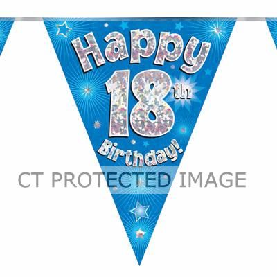 3.9m 18th Birthday Blue Bunting