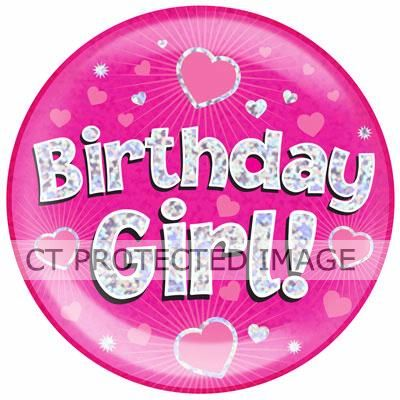 6 Inch Birthday Girl Pink Jumbo Badge