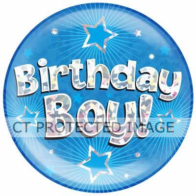 6 Inch Birthday Boy Blue Jumbo Badge