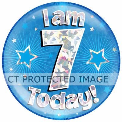 6 Inch I Am 7 Today Blue Jumbo Badge