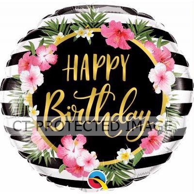 18 Inch Birthday Hibiscus Stripes Foil Balloon