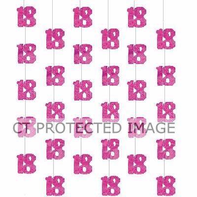 Pink Glitz 18th Hanging Decoration