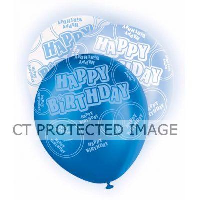 Blue Glitz Birthday 12 Inch Balloons (packquantity6)