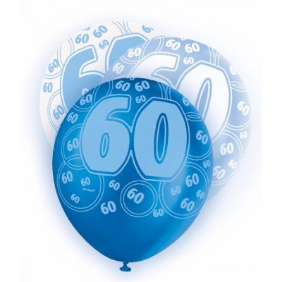 Blue Glitz 60th 12 Inch Balloons (pack quantity 6)