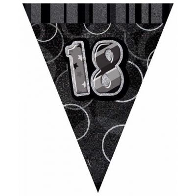 Black Glitz 18th 9ft Flag Banner
